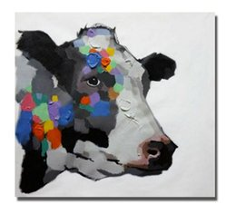 Wholesale Life Size Cows - colorful cow decorative animal head,Hand Painted Modern Wall Decor Cartoon Animal Art Oil Painting On Canvas.Mulit sizes Available C044