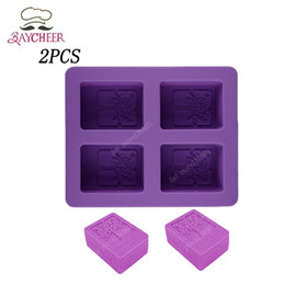 Wholesale Silicone Handmade Soap Eu - 2x 4 Cavities 3D Handmade Rectangle Square Silicone Soap Mold Chocolate Cookies Mould DIY Cake Decorating Fondant Molds