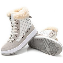 Wholesale Winter Female Boots - Shoes Women Flat Winter Autumn Ankle Snow Boots 2017 Female Lace up Fur Boots Outdoor Sport Girl Plus Size 36-41 Shoes. XDX-015