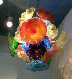Wholesale Murano Flower Chandelier - Elegant Colorful Murano Flower Glass Plates Chandelier for Home and Hotel Art Decoration Chihuly Style LED Blown Glass Chandelier Lighting