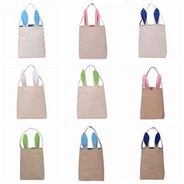 Wholesale Fabrics Clothes - 10 Colors Christmas Gifts Bunny Ears Tote Bags Large Sack Bag Canvas Cotton Stocking Bag Hand Bag 25.5*30.5*10cm PPA664