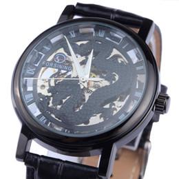 relógios de ouro para homens Desconto Atacado-Forsining Dragon Men Mecânica Assista Black Gold Case Couro banda Oco relógios Skeleton top marca de luxo relogio masculino
