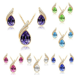 Wholesale High Quality Fashion Jewellery - 2017 High quality Austrian Crystal Jewelry Sets For Women Fashion Jewellery & Rhinestone necklace and earrings Bridal Wedding Jewelry Sets