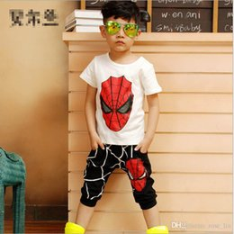 Wholesale T Shirts Boys Spiderman - 4 Color Spiderman Baby Boys Kid SportsWear Tracksuit Outfit cartoon Suit Summer kids 2016 new Short sleeve T-shirt +shorts Suit B001