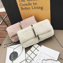 Wholesale Paper Thread - 2017 new plush packet fashion personalized paper clip multi-purpose package Korean female Bag chain shoulder shoulder bag