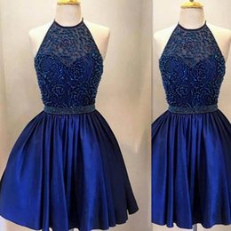 Wholesale Sexy Halter Girl Ball Gown - Royal Blue Short Mini Homecoming Dresses Beaded Ball Gown Halter Real Picture Summer Girls Prom Graduation Dress
