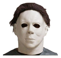 Wholesale mask top - Top Grade 100% Latex Scary Michael Myers Mask Style Halloween Horror Mask Latex Fancy Party Horror Movie Party Cosplay free shipping