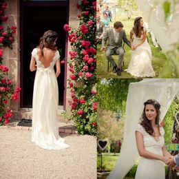 Wholesale Satin Pregnant - 2017 A-Line Lace Chiffon Garden Wedding Dresses Pregnant Empire V Neck Beads Sash Summer Spring Beach Bridal Maternity Gowns Sheer Dress