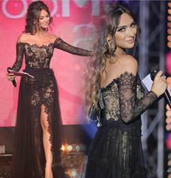 Wholesale Long Sleeve Evening Stylish - 2016 Stylish Arabic A-line Off-shoulder Black Lace Applique Evening Dresses Long Sleeves Side SplitTulle Prom Dresses