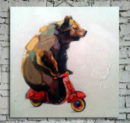 Cuadros frescos pintados online-Pintado a mano Cool Bear Driving Picture Print Pintura de lona animal de calidad superior para sala de estar o dormitorio sin marco