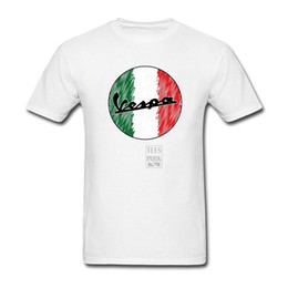 Wholesale Shirt Vintage Male - Men T-Shirt Vintage Vespa Print Italy Flag Logo Motorcycle Slim Fit Short Sleeve T Shirt Round Neck Tops Clothes Male Tee Shirts