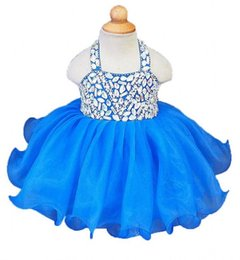 2019 vestidos flor menina curto tule mini Real bonito da cabeçada azul royal tutu meninas pageant vestidos de cristais de tule com zíper de volta vestidos de nina flor menina vestidos cupcake dress desconto vestidos flor menina curto tule mini