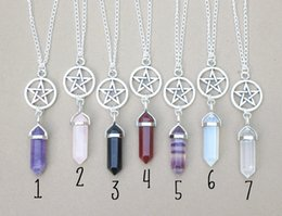 Wholesale Natural Gemstone Crosses - Necklaces Pendants Hexagonal Prism Necklaces Gemstone Rock Natural Crystal Quartz Healing Point Chakra Stone Long Charms Chains Necklaces