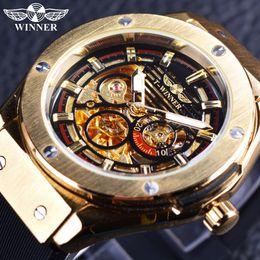 Wholesale Golden Mechanical Wrist Watch - Winner 3 Dial Golden Metal Series Top Brand Luxury Automatic Watch Men Watches Luxury Brand Mechanical Skeleton Male Wrist Watch