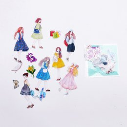 Wholesale Girls Journal - Wholesale- DIY Colorful Girl life 3D kawaii Stickers Diary Planner Journal Note Diary Paper Scrapbooking Albums PhotoTag