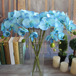 Wholesale Decor Butterflies Weddings - Artifical Moth Butterfly Orchid Flower Phalaenopsis Refined Display Fake Flowers Wedding Room Home Decor 8 colors