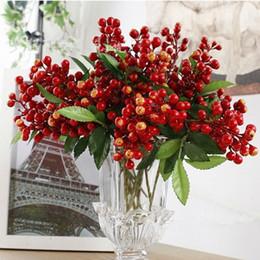 Wholesale Decorative Bouquets - 10 PCS lot California Artificial Decorative PE Sunshine Bush Berry Bouquet Fruit Decorative Flowers Home Decor blueberry Free Shipping