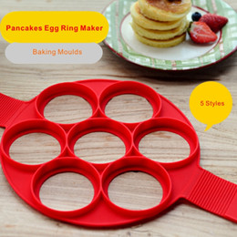 Wholesale Eco Styling Gel - High Quality Food Grade Silica Gel Pancakes Egg Ring Maker Nonstick Pancake Maker Mold 7 Holes 4 Holes 5 Styles.