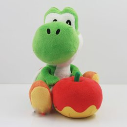 Wholesale Apple Movie - Yoshi with Apple Plush Doll Toy Super mario yoshi plush toy Christmas Gift Free Shipping