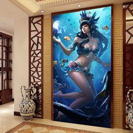 Wholesale Fantasy Photos - Wholesale-Fantasy Underwater world Wallpaper 3D Custom Photo Wallpaper Ocean Wall Murals Kids Bedroom Corridor Door Art Room decor coffee