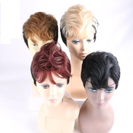 Wholesale Cosplay Blonde Brown - Ombre Short Synthetic Wigs Blonde Brown Burgundy Black Heat Resistant Cosplay Wigs European American Popular Style