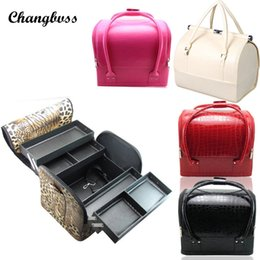 Wholesale Multi Layer Case - Brand Fashion Pu Leather Multi Layers Cosmetic Bag Women Travel Makeup Organizer Case Portable Beauticians Make Up Storage Box