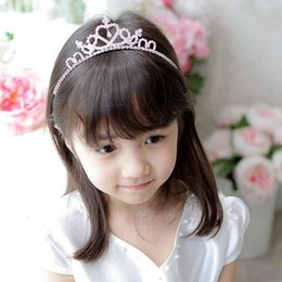 Wholesale Hearts International - Fashion Hot Headwear International Children's Day Crown Princess Bridal Tiara White Color Hairpin Cute Crystal Headband