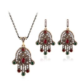 Wholesale Girls Bohemian - african jewelry set Jewelry Sets Crystal Lucky green Evil Eyes Pendant Necklace Earrings Jewelry Jewellery Sets Women maxi drop ship 162016