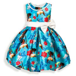 Wholesale One Piece Balls - Moana Princess Dress Necklace Beading Bowknot One-piece Dress Kids Princess Party Birthday Lace Sleeveless Dresses LG-D0442