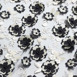 Wholesale Top Quality African Fabrics - black french African lace beaded fabric top quality Nigerian tulle lace fabric 3D flowers embroidered lace for wedding