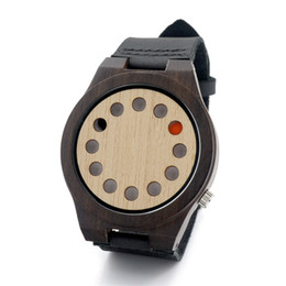 Wholesale Women Sy - Black Genuine Leather Strap Quartz Watches Wooden Wristwatches For Men And Women Casual Analog Round Wooden Watches Pin Buckle SY-WD204