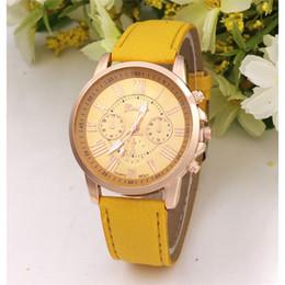Wholesale Geneva Plastic Watches - Luxury Geneva Three-eyes Wrist Watch Unisex Quartz Casual Wristwatches Sports Watches pu leather watchband brand new