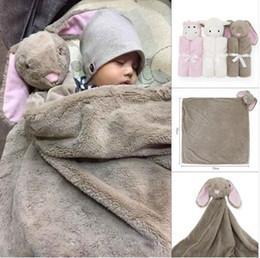 Wholesale Baby Swaddle Fleece - 76*76cm Coral Fleece Plush Baby Bedding Blanket Rabbit Bear Elephant Animal Toy Head Soft Blanket Newborn Baby Blankets Swaddle Blankets