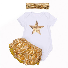 Wholesale Newborn Boy Bloomers - Wholesale- Summer Fashion Infant Baby Clothing Sets Short Sleeve Sequin Star Top+Gold Ruffles Bloomers Headband Newborn Baby Girl Clothes