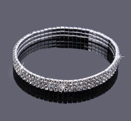 Wholesale Wedding Accessories For Women - 3 Row Sparkly Crystal Rhinestone Stretch Ankle Chain Sexy Anklet Bridal Wedding Accessories Wholesale Barefoot Jewelry for Women
