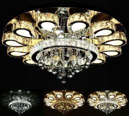 Wholesale Modern Flush Ceiling Lights - luxury design crystal chandelier lighting modern round LED ceiling fixtures living room lamp fast shipping LLFA
