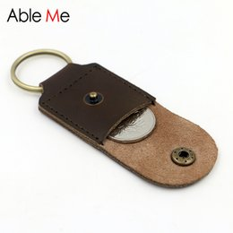 Wholesale Leather Handmade Key Ring - Wholesale- Small Coin Purse With Key Ring Stylish Mini Pouch For Coin Handmade Leather Men And Women Pocket Super Small Size
