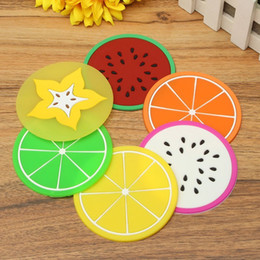 Wholesale round dining table pads - Wholesale- 6pcs lot Fashion Cute Cup Mug Mat Cushion Holder Anti Slip Silicone Fruits Coaster Home Dining Decor Table Drink Placement Pad