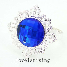Wholesale Napkin Ring Wedding Gem - 50pcs lot Royal Blue Gem Silver Plated Napkin Rings Wedding Favors Decoration-Free Shipping