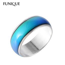 Wholesale Mood Rings Colors - Wholesale- FUNIQUE Fashion Creative Mood Ring for Women Jewelry Gift Colors Change Ring With Your Emotion Temperature Feeling Ring 8mm Wide