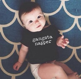 Wholesale Baby Bodysuits Short Sleeve - Funny Newborn Infant Clothes Gangsta Napper Letter Print Black Short Sleeve Tiny Cottons Baby Bodysuits Baby Onesie 0-2years