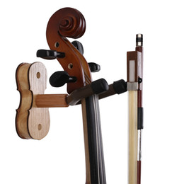 Wholesale Wood Ash - Wood Violin Hanger with Bow Peg - Hardwood Home & Studio Wall Mount Hanger for Violin - Ash Wood