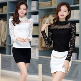 Wholesale Puff Sleeve Lace Top - Plus size S-XXXL Blouse New fashion Women's Stand Pearl Collar Lace Crochet Blouses Shirts Long Sleeve Sexy Tops For Women
