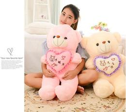 Wholesale Stuffed Love Bear - 1pc 50cm Stuffed Plush Toy Holding LOVE Heart Big Plush Teddy Bear Soft Gift for Valentine Day Birthday Girls' Brinquedos