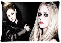Wholesale Avril Lavigne - 2pcs Custom Avril Lavigne Sexy Pattern Zippered Cotton Polyester Pillow Case 20x30 (Twin sides)