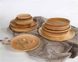 Wholesale Tray For Tea - natural ECO friendly rubber wood cedar wood plate for dish dessert fruit coffee tea tray saucers pot-holder service plate no Paint no Wax