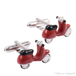Wholesale Motorcycle Cufflinks - Free Shipping-Europe's most popular Personality interest electric motorcycle modelling red cufflinks