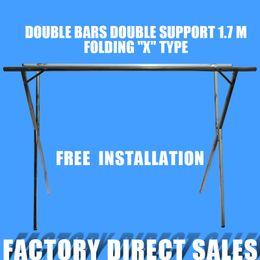 Wholesale Shape Lingerie - Hanger folding double rod X-shaped stainless steel simple hanger for household items stall 1.7 m 2 frame