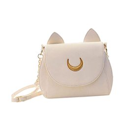 Wholesale Moon Wallet - Wholesale-Lovely Cute Sailor Moon Women Shoulder Bag Ladies Cat ears Luna Leather Chain Handbag Tote Purse Wallet Crossbody Messenger