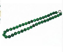 Wholesale Green Malachite Gem - Fashion Green real New 10mm Green Gorgouese Malachite Gem Round Beads Necklace